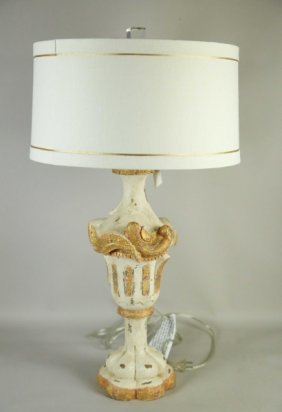 Wood Carved & Polychrome Urn Now A Lamp