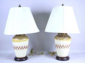 Pair Of Crackle Glaze Ceramic Jars Now Lamps