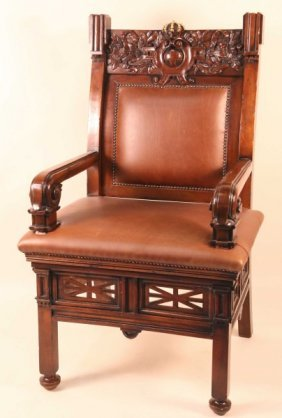Wood Carved Throne Chair With Leather Seat & Back
