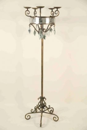 Vintage Wrought Iron Candelabrum With Mirror Prism