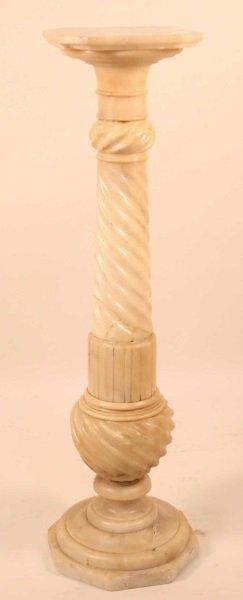 Antique Carved Alabaster Pedestal