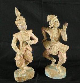 Pair Of Wood Carved Thai Dancer Figures