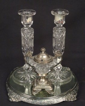 Lot Of Four Silverplated Cut Glass Pieces