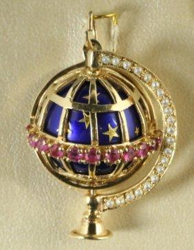 14kt Enameled Ruby & Pearl Globe Motif Pendant