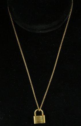 """750 Tiffany & Co"" Gold Lock Pendant & Necklace"