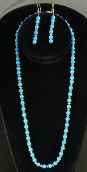 "22"" Lapis Necklace With Matching Earrings"