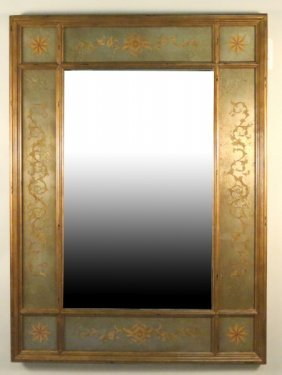 Reverse Glass Gold Paneled Mirror