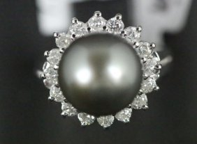 14kt 11.00mm Tahitian Pearl & 0.70ct Diamond Ring