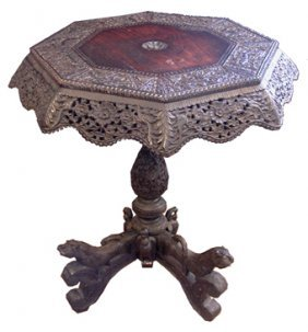 ANTIQUE PIERCED CARVED BURMESE TABLE  2894