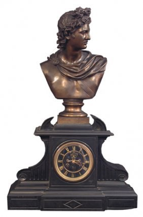 LG BLACK MARBLE MANTLE CLOCK W/ BRONZE BUST 15707