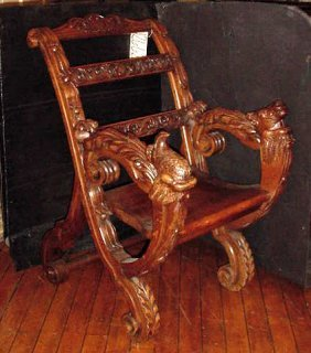 CARVED CHAIR W/ BIRD AND COW HEAD ARMS 12662