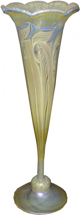 VANDERMARK ART GLASS VASE PULLED FEATHER DSGN. 83A