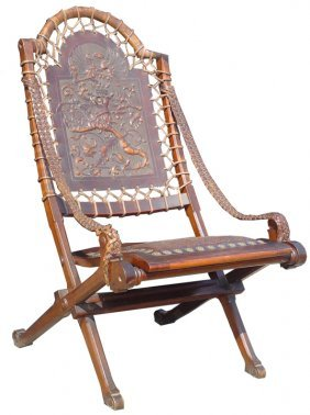 HAND TOOLED LEATHER CHAIR W/ ARMOR & BIRD 13541