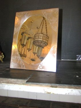 SILVER PLATE ART NOUVEAU EASEL BACK TBL MIRROR 4047a