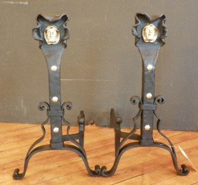 CAST IRON & BRONZE ANDIRONS W/ MONKS 4435