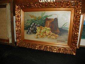 OIL ON BOARD STILL LIFE OF GRAPES, SIGNED (1641)