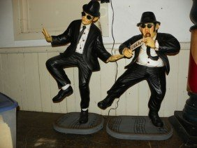 SET OF TWO FIBERGLASS BLUES BROTHER STATUES 4330
