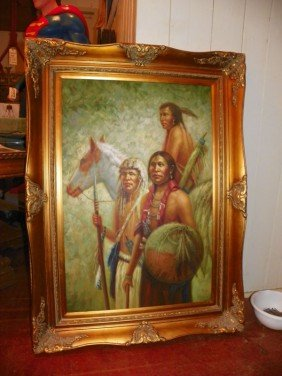 LG OIL ON CANVAS 3 INDIANS IN GILT WOOD FRAME 4352