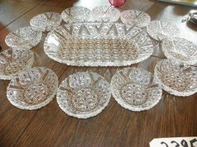 13PC CLEAR PATTERN GLASS SET PLATTER & PLATES  2395