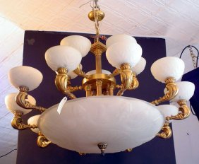 15 ARM 2 TIER CHANDELIER W/ FIGURAL DOME SHADE 818