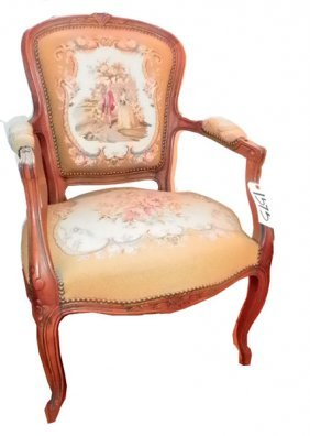 ELEGANT FRENCH ARM CHAIR W/ NEEDLEPOINT 1595
