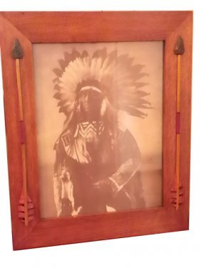 PRINT OF CHIEF WHITE WHIRLWIND IN  OAK FRAME 1536B