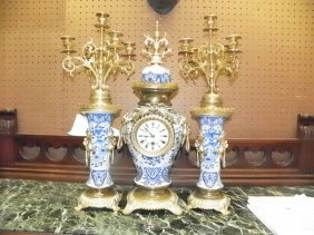 3PC PORCELAIN & BRASS CLOCK SET W/LION HEADS 16033