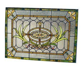 STAINED AND RIPPLED GLASS WINDOW W/SPIDER WEB 4640