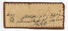 James J Davis Signature On Silk - Politician