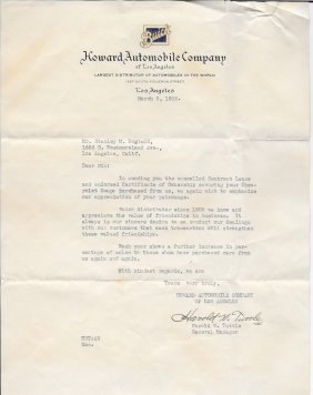Letter From Howard Automobile Company - 1932