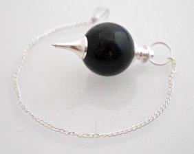 90 Cts Black Jasper-crystal Quartz Ball Pendulum