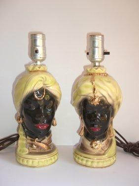 Pair Of Blackamoor African Head Lamps