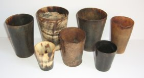 7 Pieces 19th C. Horn Cups