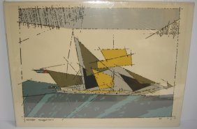 Abstract Sailboat At Sea Lithograph