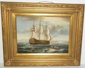 Oil On Board Seascape Scene Unsigned