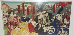 Japanese Woodblock Kabuki Triptych