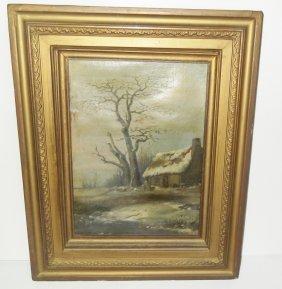 Oil On Canvas Cabin Scene