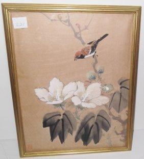 Japanese Bird & Flower Watercolor