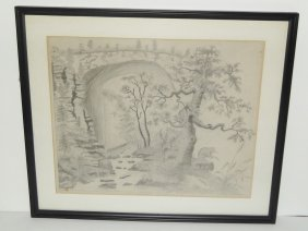Pencil Drawing Wooded Scene, Unsigned