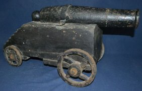 "Early 19"" Cast Iron Bay Yacht Cannon, 1"" Bore, Married"