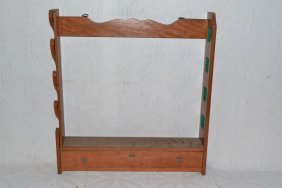 Four Gun Pine Wall Rack With Drawer