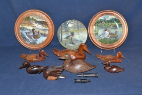 Seven Natural Wood Decoys, Three Duck Plates, Two P.s.