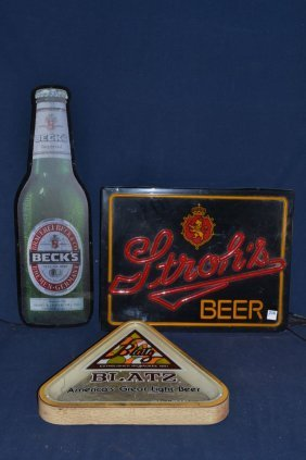Becks, Stroh's And Blatz Beer Signs