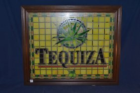 Illuminated Tequiza Sign With Wood Frame And Stained