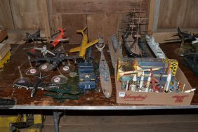Collection Of Assembled Plastic Model Planes, Ships,