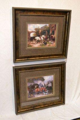 Two Large Framed Horse Prints