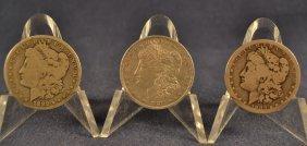 Three Morgan Silver Dollars: 1882, 1882o, 1882s (left
