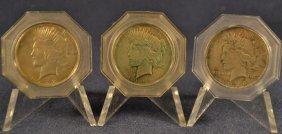 Three Peace Silver Dollars: 1922-1924 (l To R)