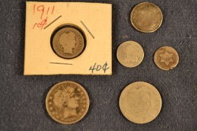 Lot Coins: 1898 & Another Barber Quarters, 1832 & 1911