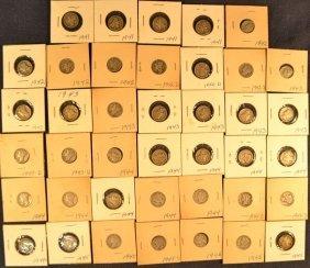 40 Sleeved Mercury Silver Dimes, 1941-1945